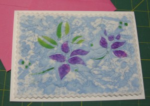 Fast stenciled & quilted card