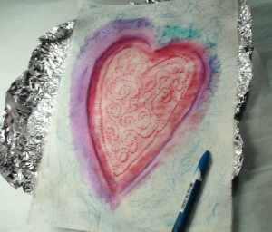 heart foil rub painting