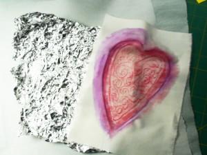 heart foil rubbing