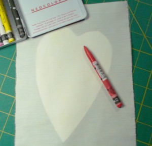 heart under fabric