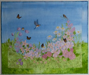 finished garden view art quilt