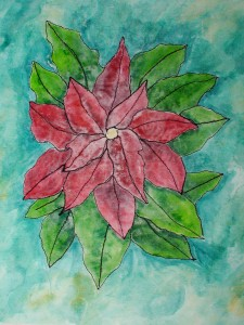 Poinsettia on fabric