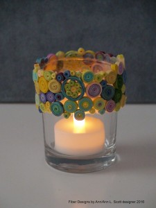 rimmed glass flameless holder