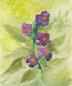 trumpet flower watercolor small