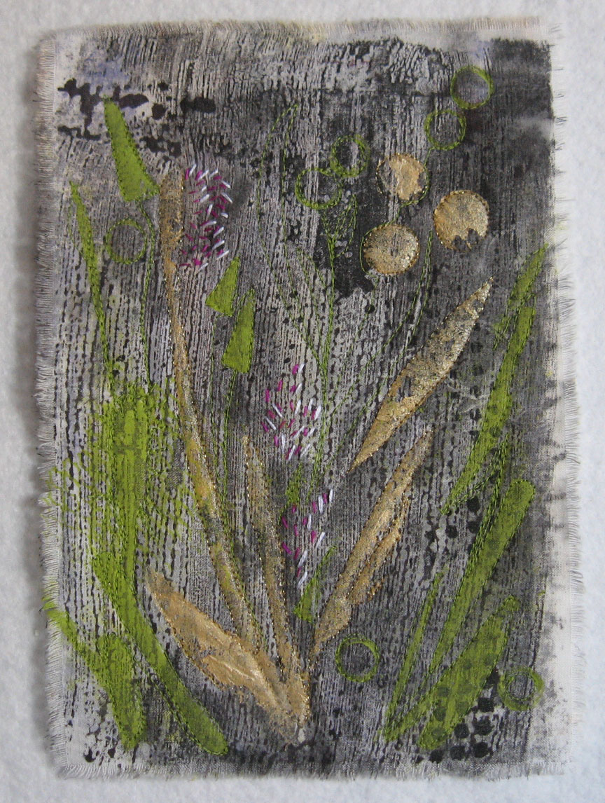 mixed media fiber art collage