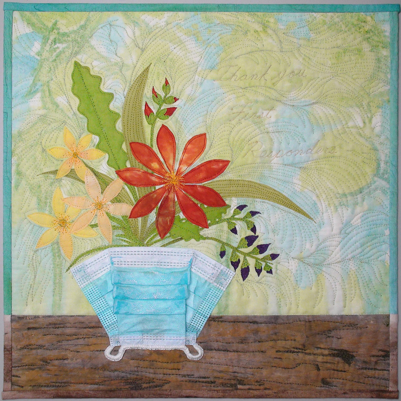 Art quilt mask flowers