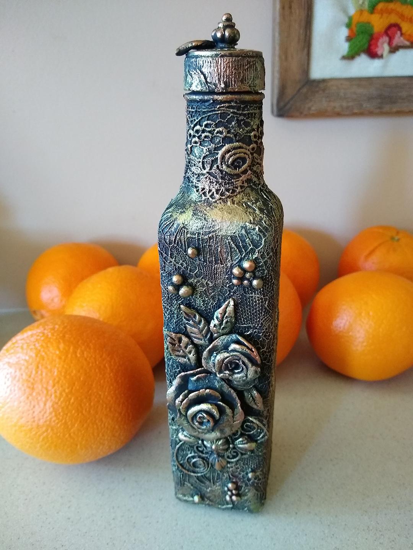 altered bottle fiber art